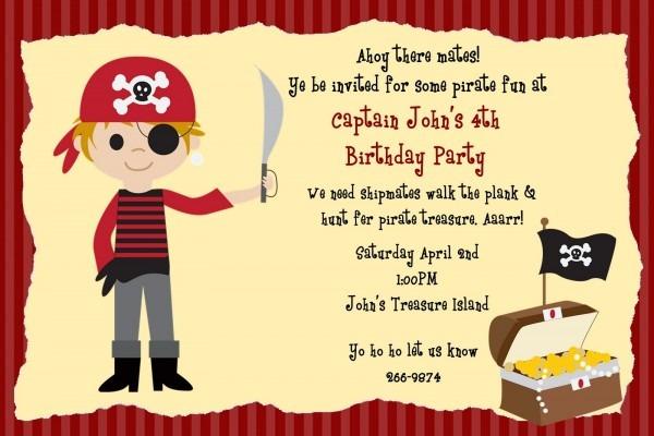 Pirate Birthday Party Invitations Templates — Birthday Invitation