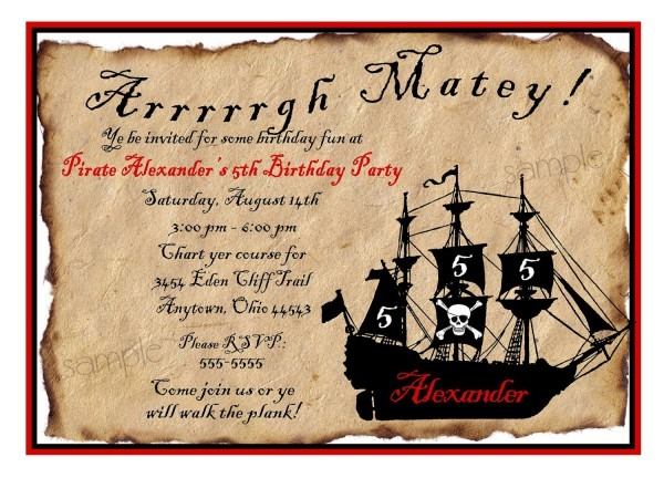 Pirate Party Invitations Pirate Party Invitations For Party