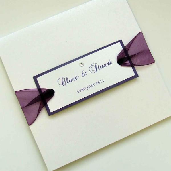 Pocketfold Wedding Invitation With Sheer Ribbon & Tag