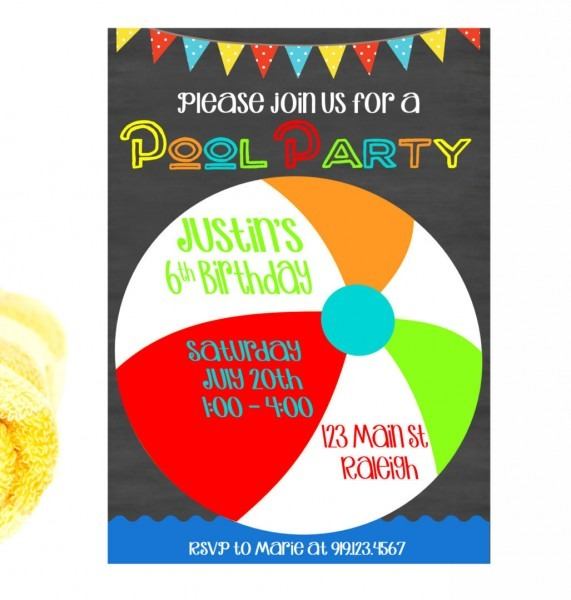 Pool Party Birthday, Pool Birthday Party Invitation, Pool Birthday