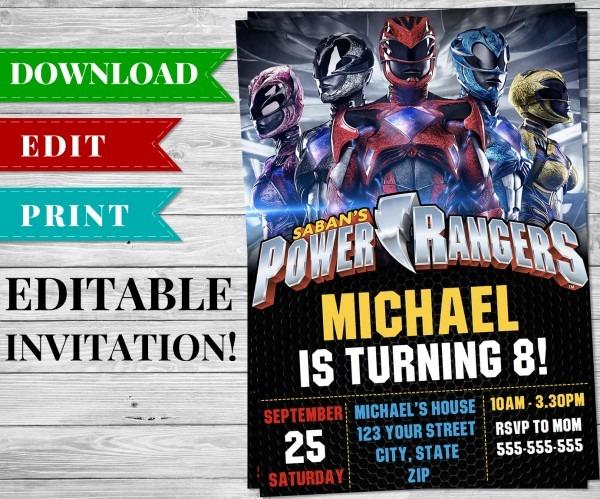 Printable Power Rangers Invitation Pdf