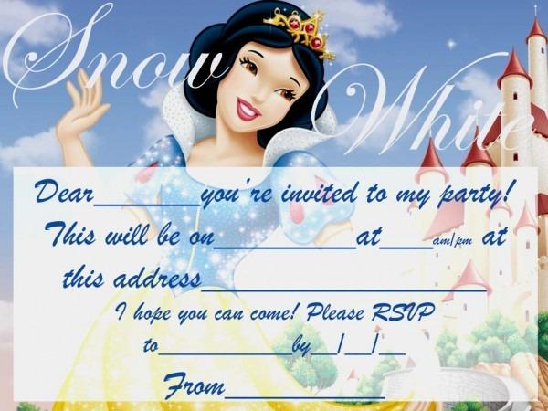 Snowwhite Free Party Invite To Print