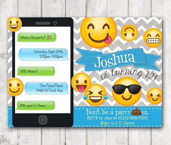Printable Emoji Birthday Party Invitation, Boy Emoji Invitations