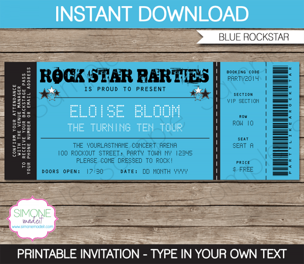 Rockstar Party Ticket Invitation Template