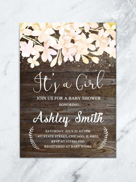 Girl Rustic Baby Shower Invitation, It's A Girl Baby Invite