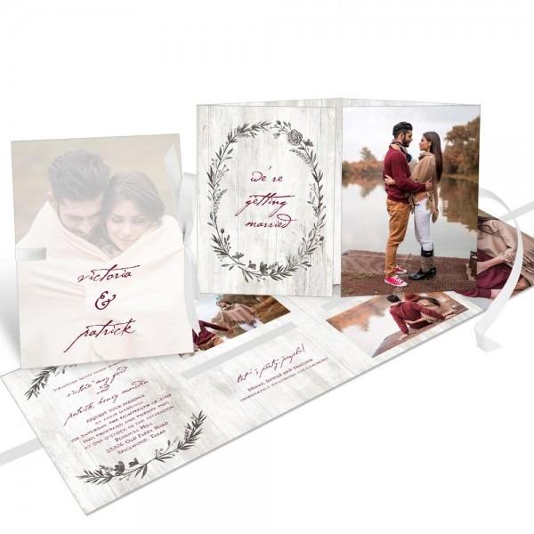 Sketched In Love Ribbon Booklet Wedding Invitation