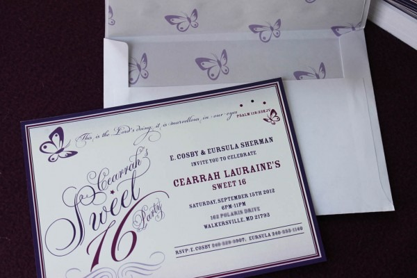 Purple Butterfly Themed Sweet 16 Celebrate Invitation Card
