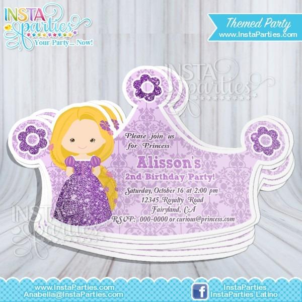 Rapunzel Princess Invitations Crown   Princess Cut Out Birthday