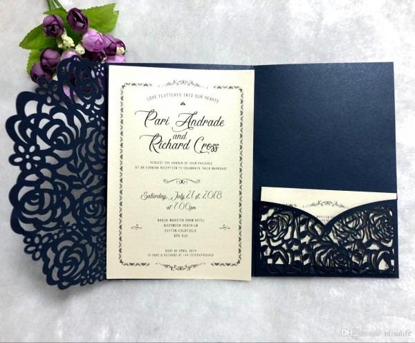 2018 Navy Blue Laser Cut Wedding Invitations With Glittery Bottom