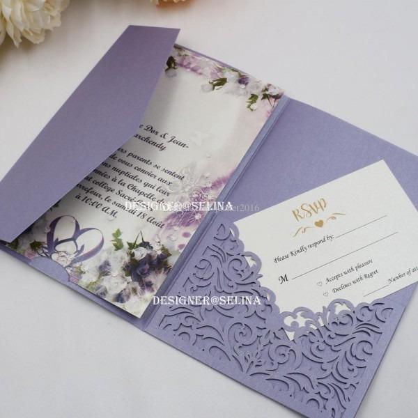 Lavender Trifold Pocket Wedding Invitations Laser Cut First Holy