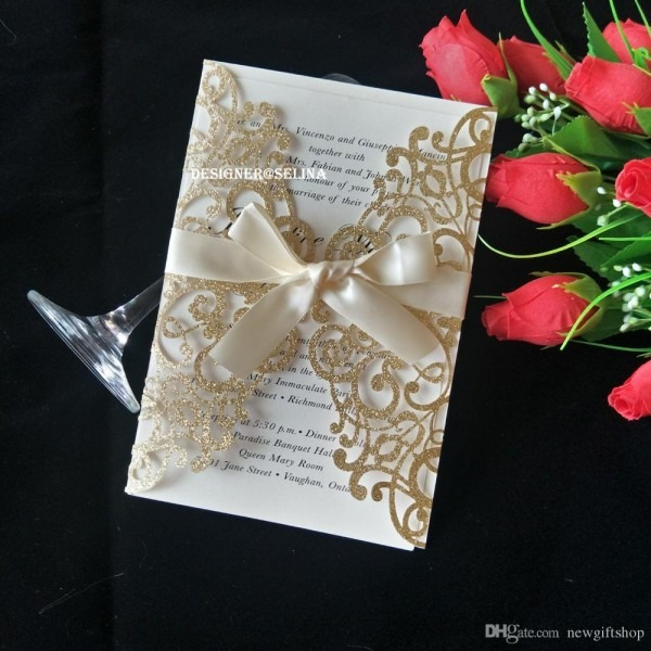 2019 Luxury Glitter Laser Cut Wedding Invitations Cards With
