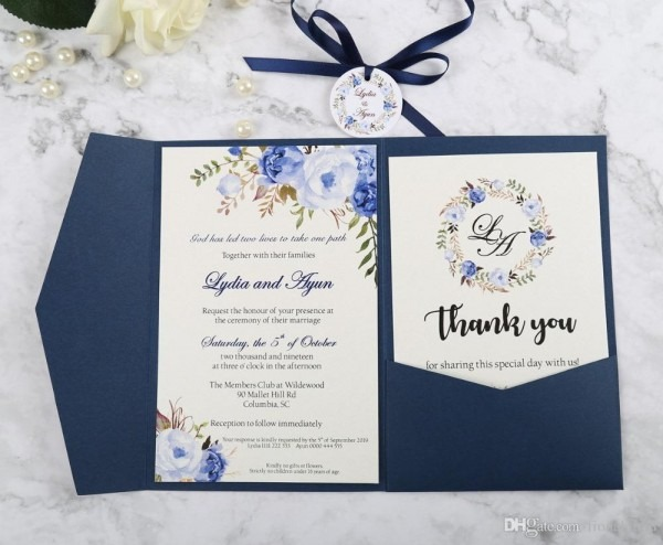 New Arrival Blue Trifold Pocket Wedding Invitation With Rsvp Card