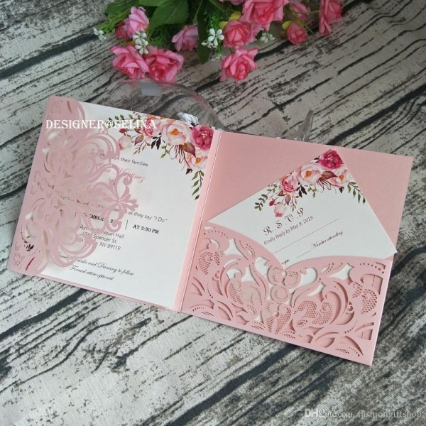 Pink Wedding Invitation Cover, Pocket Only Diy Gorgeous Shimmy