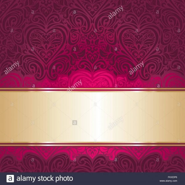 Red And Gold Vintage Decorative Invitation Background Stock Vector