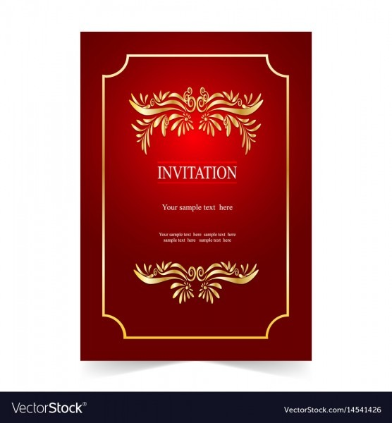 Red Invitation Card Wedding Card With Ornamental Vector Image
