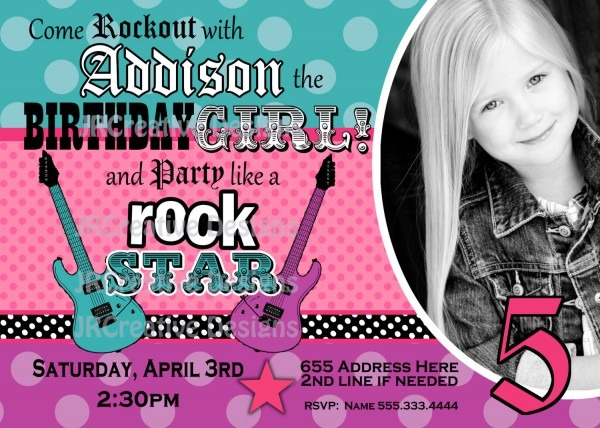 Rock Star Birthday Party Invitations