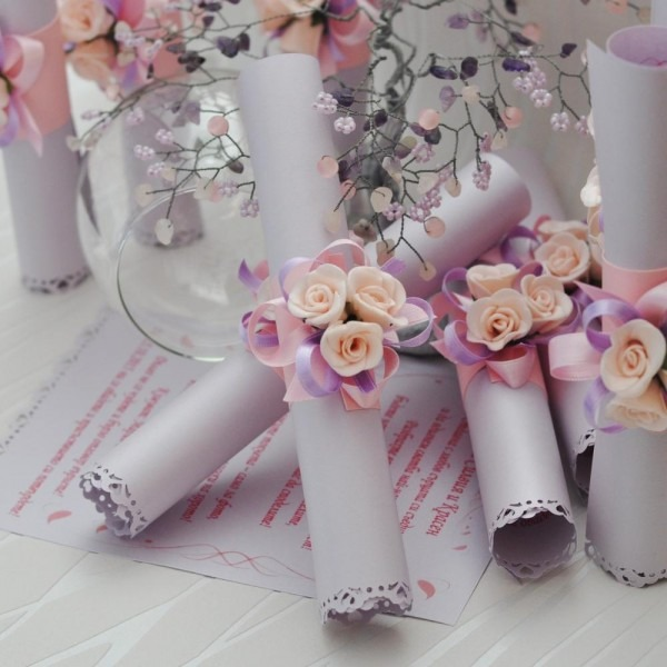 Roll Wedding Invite Card With Floral Band Royal Style Invitation
