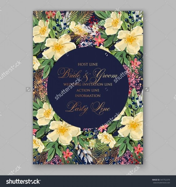 Romantic Anemone Wedding Invitation Floral Bridal Wreath With