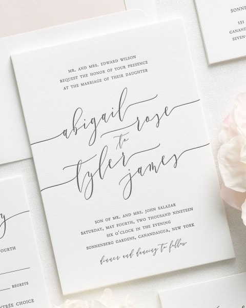 Romantic Calligraphy Letterpress Wedding Invitations