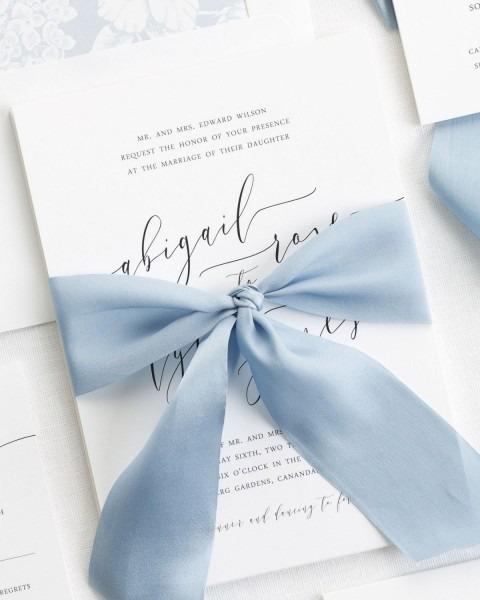 Romantic Calligraphy Ribbon Wedding Invitations
