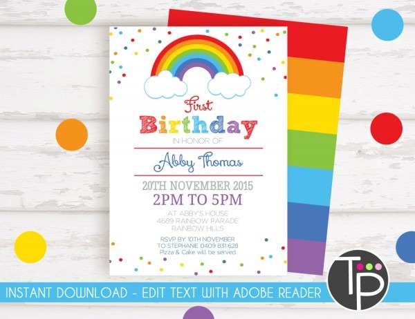 Rainbow Invitation, Rainbow Confetti Invitation, 1st Birthday Invitation