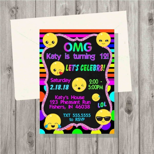 Emoji Neon Tie Dye Birthday Party Invitation Digital File Teen