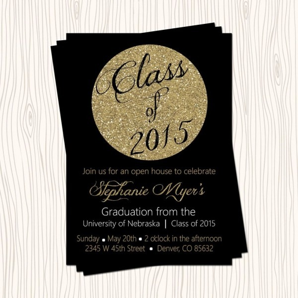 Faux Gold Glitter Black High School College Graduation