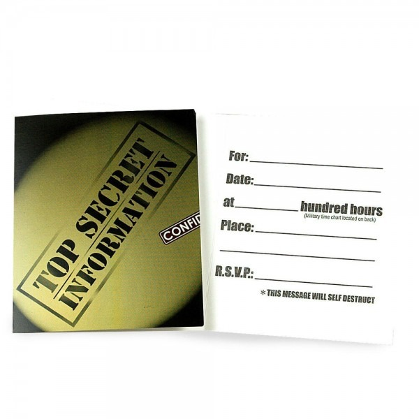 Secret Agent Party Invites Spy Invitations With Envelopes Pack Of