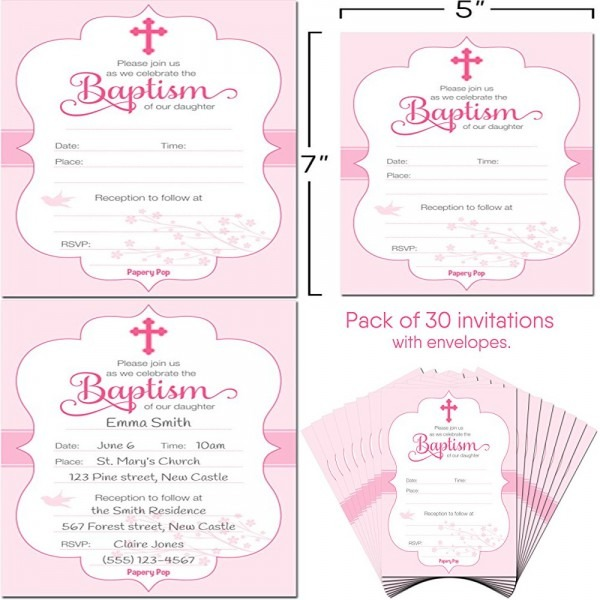 30 Baptism Invitations Girl W Envelopes Pack Religious Christening