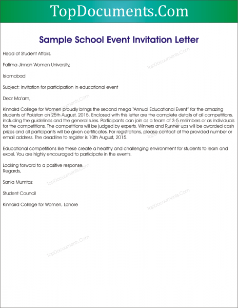 Sample Invitation Letter To School Event – Top Docx