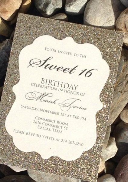 Sand Glitter Silver Themed Sweet 16 Celebration Invite