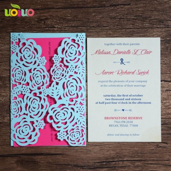 Sea Blue Pearl Paper Chinese Wedding Invitation Card Birthday