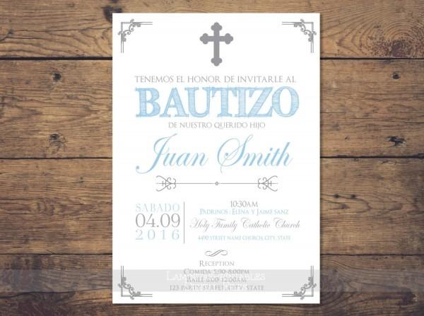 Spanish Baptism Invitations