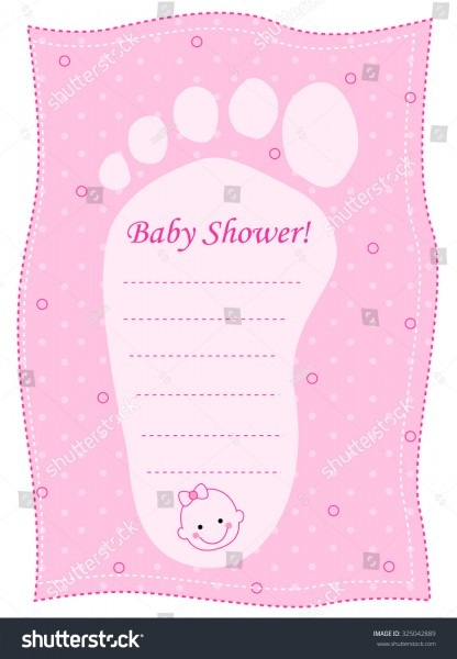 Illustration Pink Baby Shower Invitation Footprint Stock
