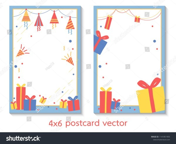 4 X 6 Postcard Size Party Theme Card Invitation Stock Vector