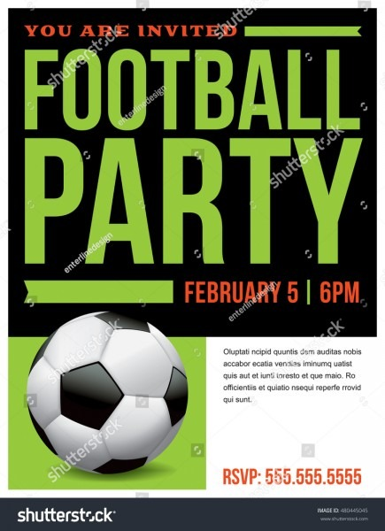 Flyer Soccer Football Party Invitation Template Stock Vector