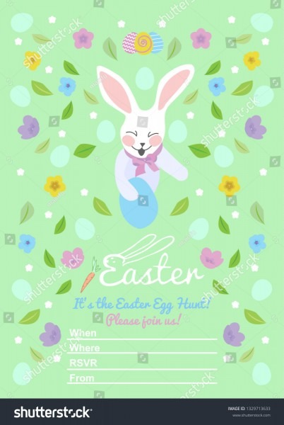 Easter Invitations Templates Eggs Flowers Floral Stock Vector