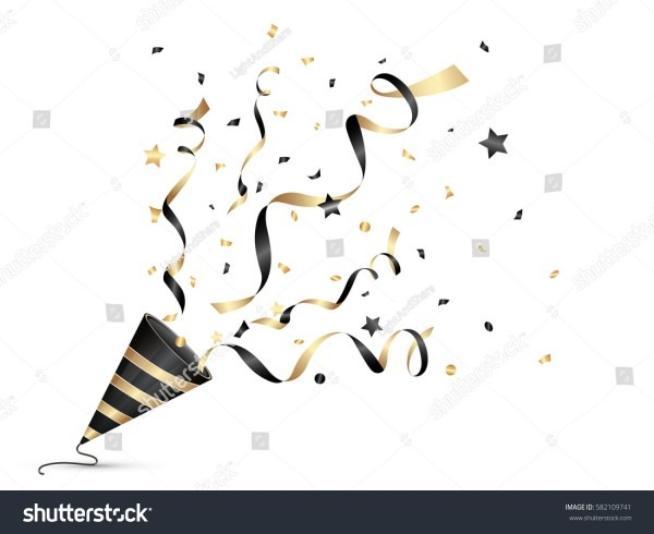 Exploding Party Popper Black Gold Color Stock Vector (royalty Free