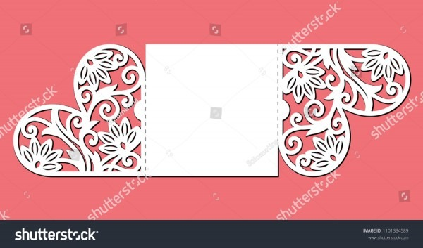 Gate Fold Invitation Card Laser Cutting Stock Vector (royalty Free
