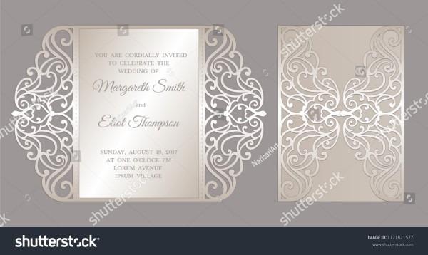 Gate Fold Laser Cut Wedding Invitation Stock Vector (royalty Free