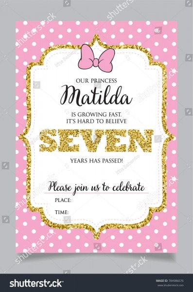 Girls Seventh Birthday Invitation Seven Years Stock Vector