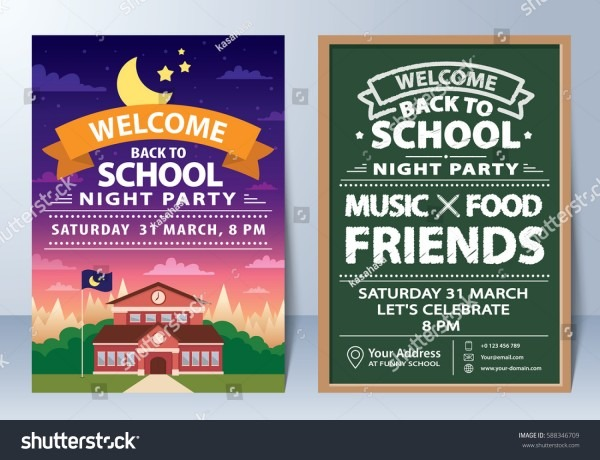 Invitation Back School Night Party Template Stock Vector (royalty
