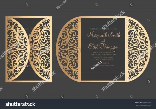 Laser Cut Delicate Gate Fold Wedding Invitation Stock Vector