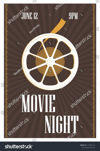Poster Flyer Invitation Template Movie Night Stock Vector (royalty