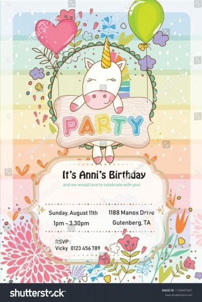 Unicorn Birthday Invitation Cute Party Template Stock Vector