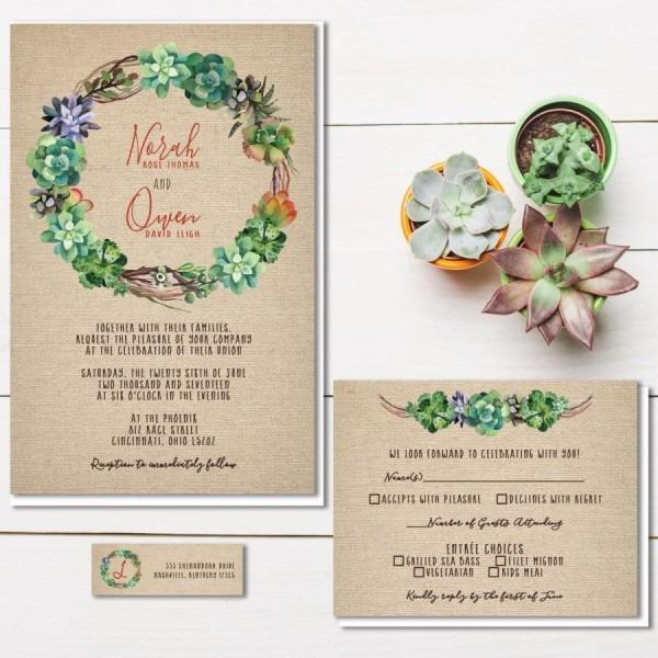 Succulent Wedding Invitations, Rustic Burlap Wedding Invitation