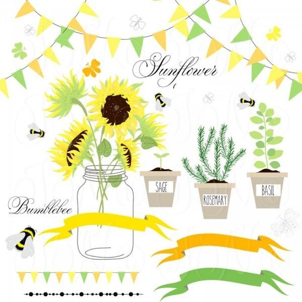 Sunflowers, Mason Jars,digital Papers