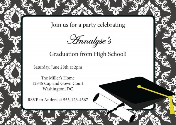 Swirl Graduation Announcement Designs Invitations Download Boy