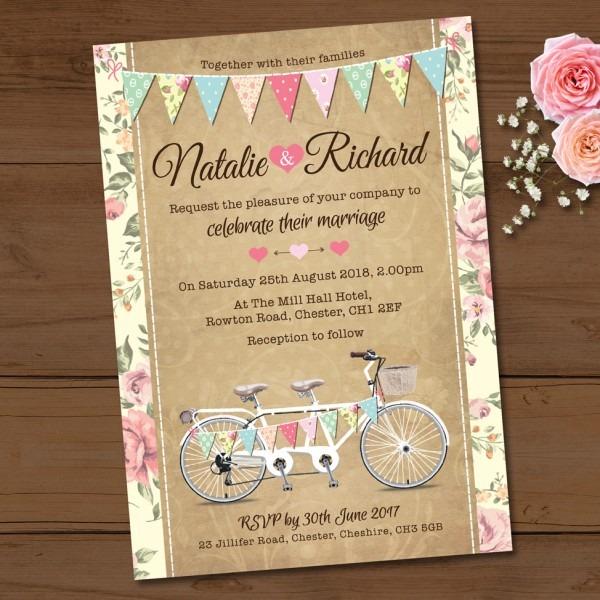 Tandem Bike Bunting Wedding Invitation