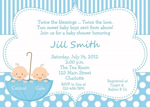 Baby Shower Invitation Wording Twins Boy Girl • Baby Showers Design